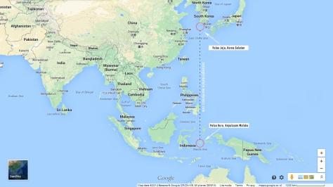 Perbandingan letak antara Pulau Jeju dengan Pulau Buru
